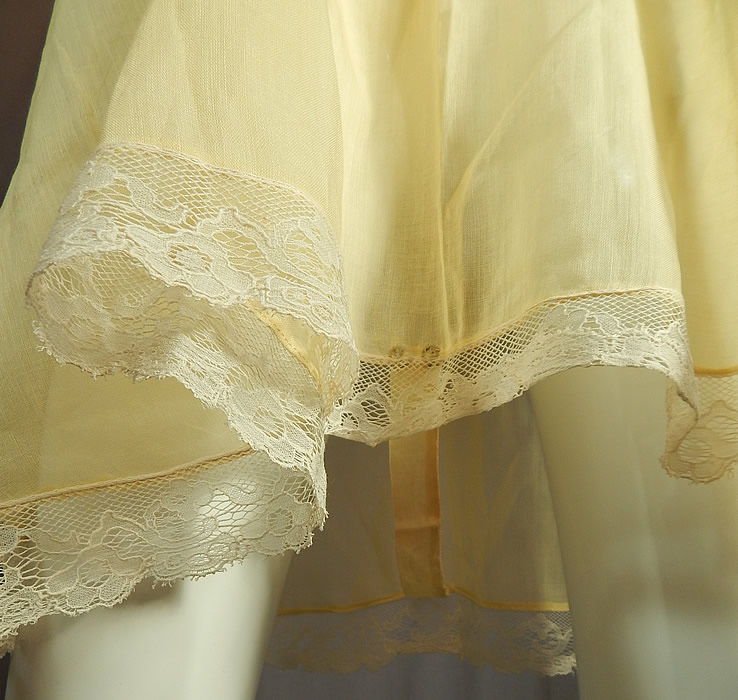 Vintage Yellow Cotton Batiste White Lace Lingerie Chemise Camiknicker Teddy