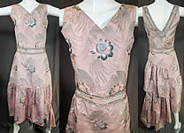 Vintage French Silk Damask Brocade Rhinestone Beaded Evening Gown Dress