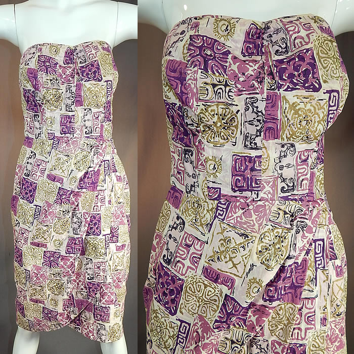 Vintage Purple & Gold Hawaiian Tapa Print Cotton Wrap Sexy Strapless Sarong Dress