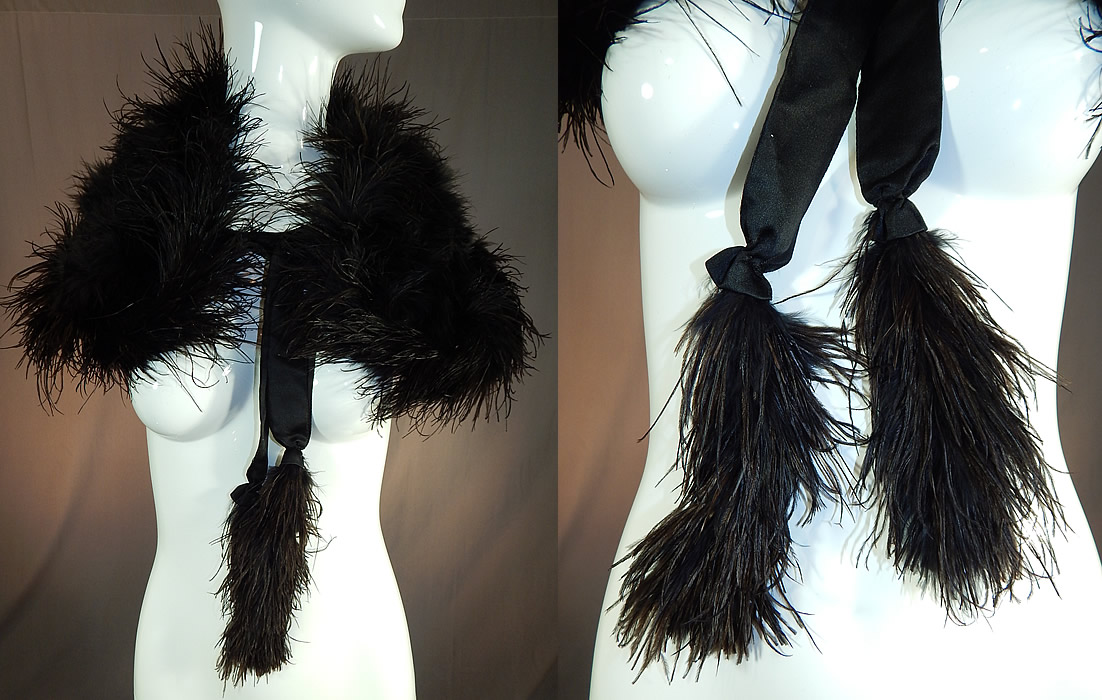 Edwardian Black Ostrich Feather Capelet Shawl Collar Cape Silk Ribbon Ties