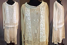 Vintage Cream Net Embroidered French Knot Filet Lace Pink Silk Slip Drop Waist Dress