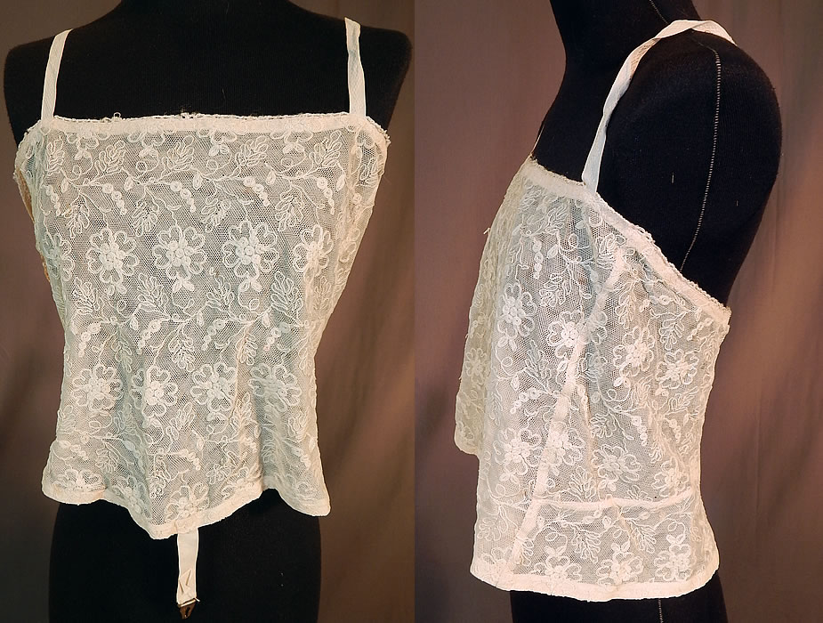 Vintage Edwardian Tambour Embroidery Net Lace Camisole Bra Bandeau Top