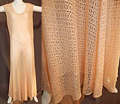 Vintage Sheer Pink Polka Dot Spider Web Teneriffe Lace Maxi Dress Bias Cut Gown