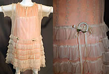 Vintage Embroidered Cream Net Lace Silk Ribbon Rosette Trim Peach Slip Dress