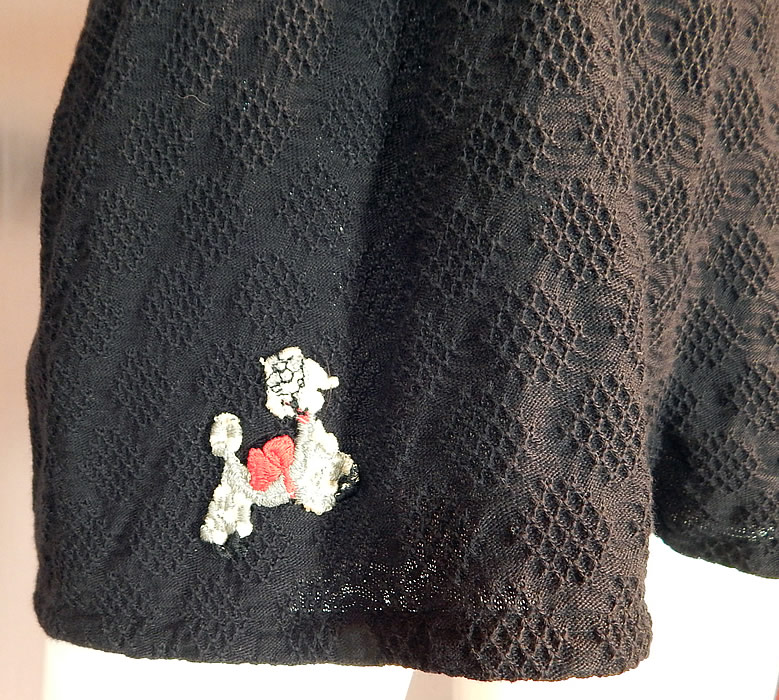 Vintage Black Knit Halter Top Onepiece Swimsuit Romper Poodle Applique