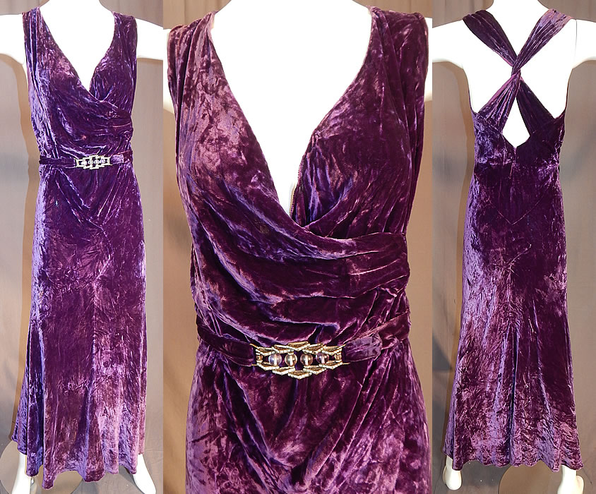 Vintage Art Deco Purple Panne Crushed Velvet Belted Bias Cut Evening Gown Dress