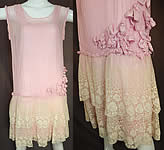 Vintage Pleated Pink Silk Rosette Flowers Cream Lace Ruffle Skirt Drop Waist Dress