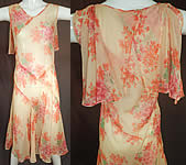 Vintage Pink Geranium Flower Print Silk Shawl Collar Capelet Cape Bias Cut Dress
