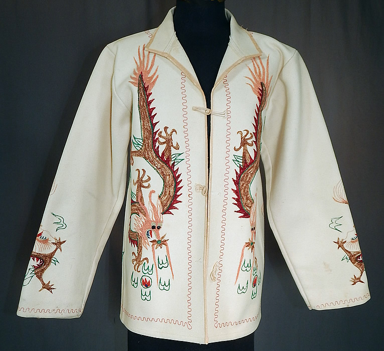 Vintage Chinese Dragon Tiny Seed Stitch Embroidery White Wool Winter Coat Jacket