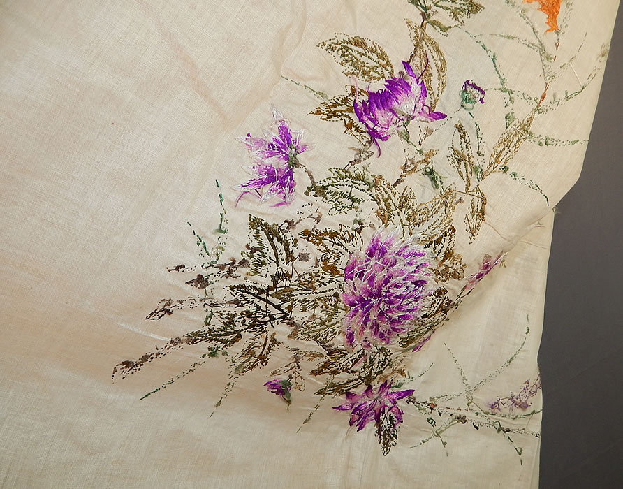 Antique Chinese Vietnamese Saigon Butterfly Floral Silk Embroidered Tapestry