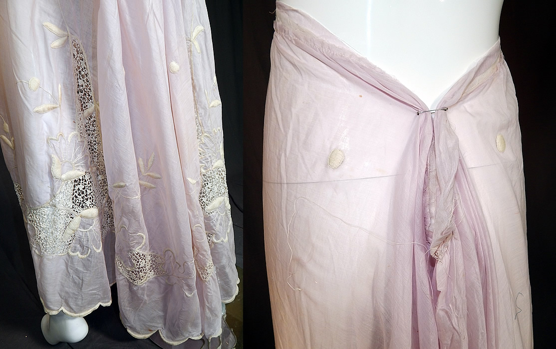 Edwardian Lavender Batiste White Embroidered Lace Trim Skirt Fabric