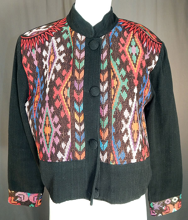 Vintage Milagros Hand Loomed Guatemalan Weave Crop Coat Bolero Jacket