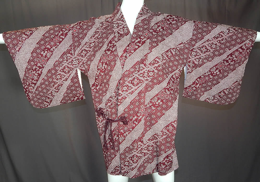 Vintage Japanese Silk Shibori Tie Dye Red Floral Haori Kimono Robe Jacket