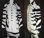 Vintage Cheap and Chic Moschino Black White Zebra Stripe Blazer Suit Jacket Skirt NWT