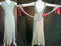Vintage Blue Silk Crepe Matelasse Puffy Backless Bias Cut Evening Gown Dress