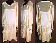 Vintage Cream Silk Chiffon Lace Trim Tiered Ruffle Skirt Drop Waist Dress