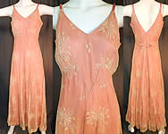Vintage Cream Tambour Embroidery Net Lace Pink Nylon Slip Dress Bias Cut Gown