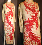 Vintage Chinese Cheongsam Dress Hand Beaded Sequin White & Red Phoenix Bird
