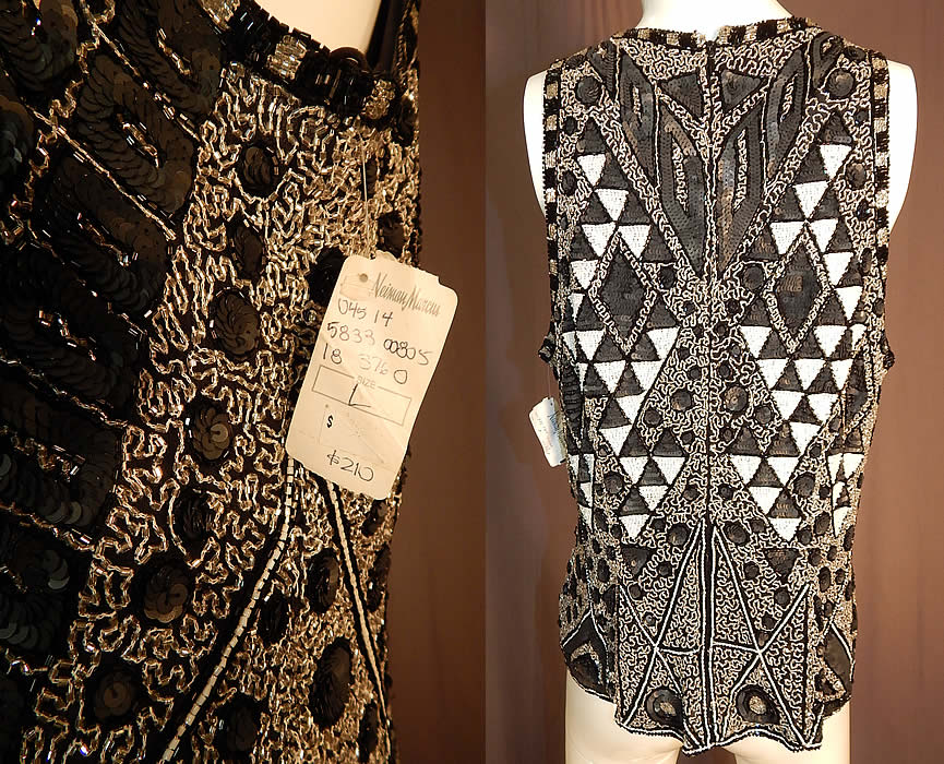 Vintage Naeem Khan Riazee Art Deco Flapper Style Beaded Blouse Sleeveless Top NWT