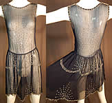 Vintage Art Deco Navy Blue Sheer Silk Chiffon Rhinestone Beaded Flapper Dress
