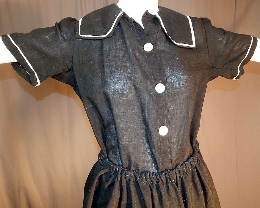 Edwardian Black Wool Bathing Beauty Sailor Suit Swimsuit Dress & Bloomers
