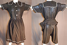 Edwardian Vintage Black Wool Bathing Beauty Sailor Suit Swimsuit Dress & Bloomers