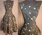 Vintage Black Cotton Polka Dot Tulip Novelty Print Fit & Flare Circle Skirt Dress