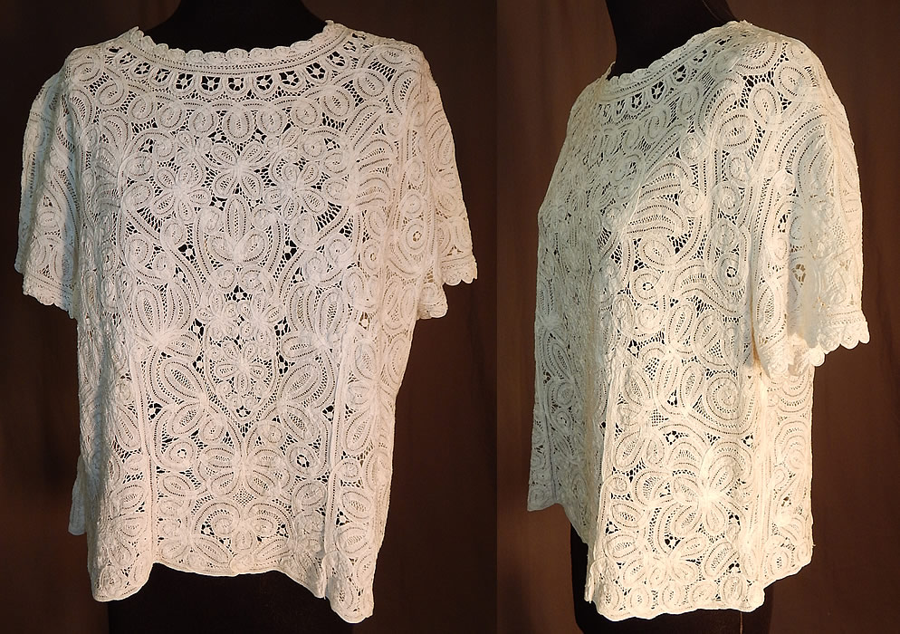 Vintage White Battenburg Tape Lace Sheer Shirt Blouse