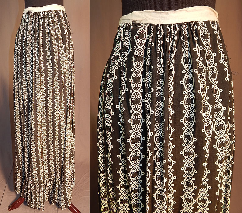 Victorian Black & White Cotton Calico Chain Link Print Workwear Pocket Skirt