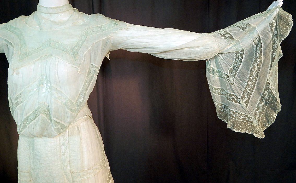 Edwardian Blue Batiste Lace Dress Handkerchief Sleeve Blouse & Skirt Train