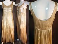Vintage Silver Lamé Lame High Empire Waist Long Evening Gown Slip Dress