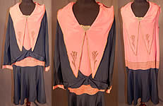 Vintage Art Deco Navy Blue Pink Silk Gold Embroidered Dress & Jacket For Design