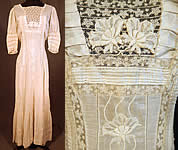 Victorian Cream Cotton Batiste Embroidered Applique Lace Lawn Dress Tea Gown