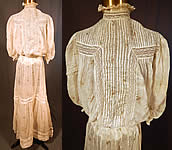 Edwardian Vintage Moire Pattern Print White Batiste Lace Dress Blouse & Skirt