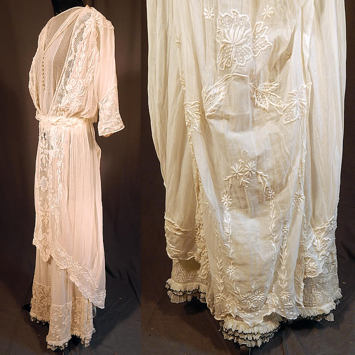 Edwardian Titanic Embroidered French Knot Batiste Filet Lace Lawn Dress Tea Gown