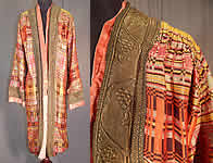 Vintage Art Deco Colorful Woven Silk Plaid Gold Lamé Lame Flapper Opera Coat