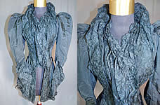 Victorian M.A. Smyth & Co Black Silk Lace Mutton Sleeve Mourning Bodice Jacket