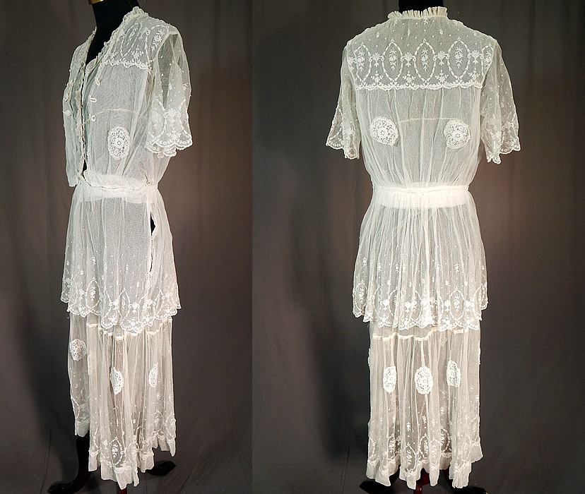 Titanic Edwardian Embroidered White Tulle Net Lace Applique Dress Tea Gown
