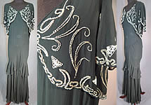 Vintage Black Silk Chiffon Butterfly Beaded Bias Cut Evening Gown Dress