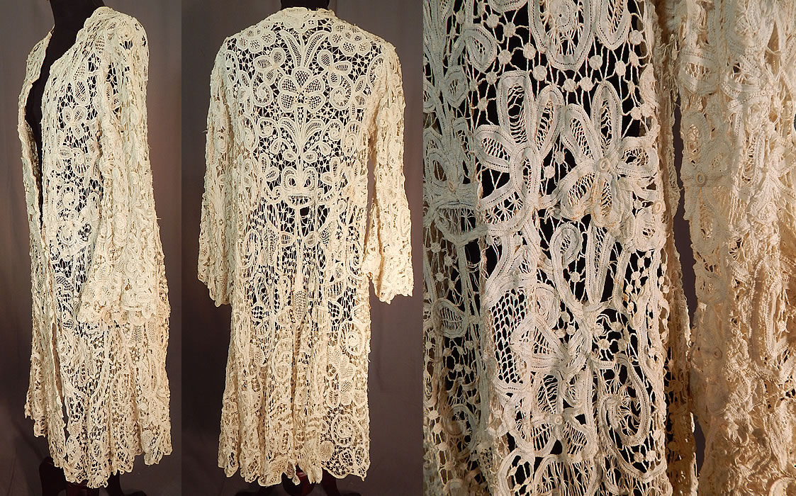 Edwardian Antique Cream Battenburg Tape Lace Long Coat Jacket
