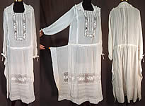 Vintage White Cotton Batiste Embroidered Maltese Bobbin Lace Boho Peasant Dress