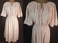 Vintage Pink Cotton Embroidered Hearts Flowers Smocking Boho Peasant Dress