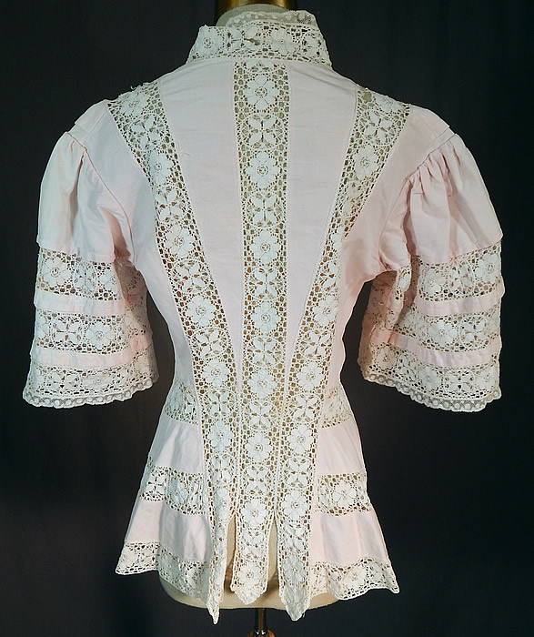Edwardian Pink Cotton Pique White Lace Trim Coattails Coat Jacket
