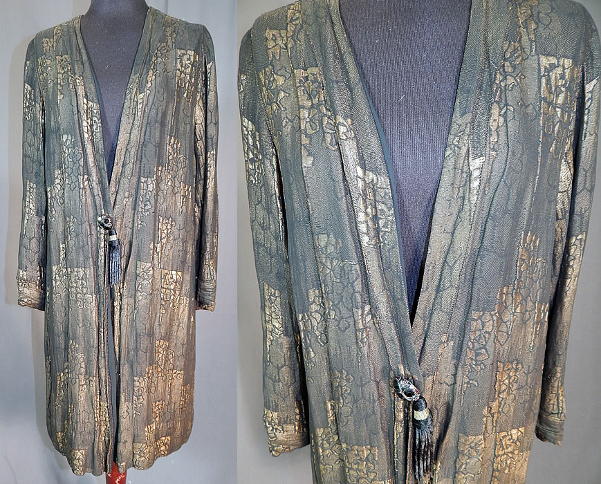 Vintage Art Deco Black Silk Gold Lamé Lame Long Flapper Coat Jacket Tassel Trim