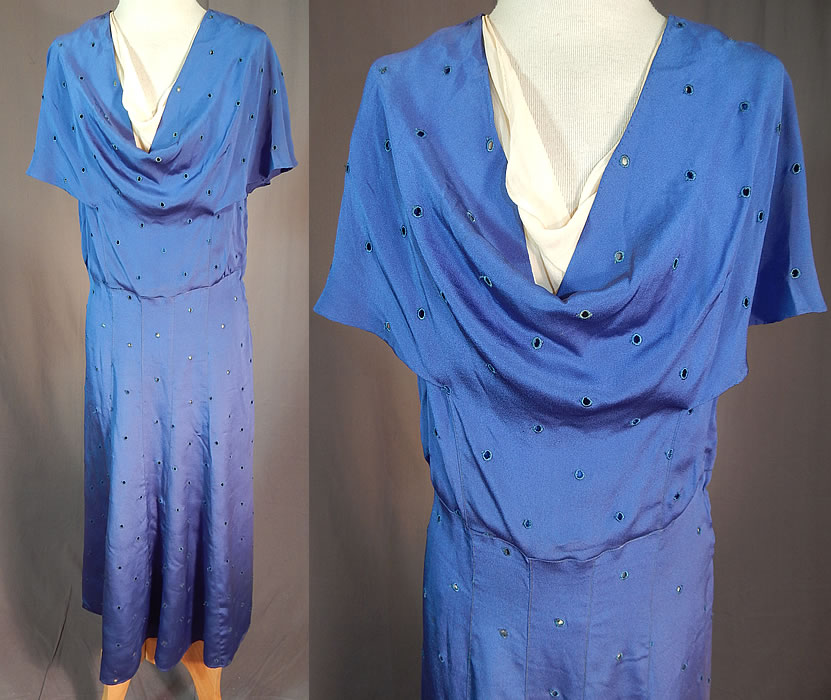 Vintage Embroidered Eyelet Royal Blue Silk Crepe Cowl Neckline Bias Cut Dress