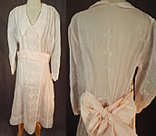 Vintage Pink Pastel Organdy White Flock Cross Stitch Pattern Belted Bow Dress