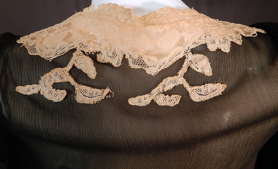 Vintage Black Silk Chiffon Cream Lace Handkerchief Sleeve Bias Cut Dress Slip