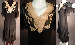 Vintage Black Silk Chiffon Cream Lace Handkerchief Sleeve Bias Cut Dress & Slip