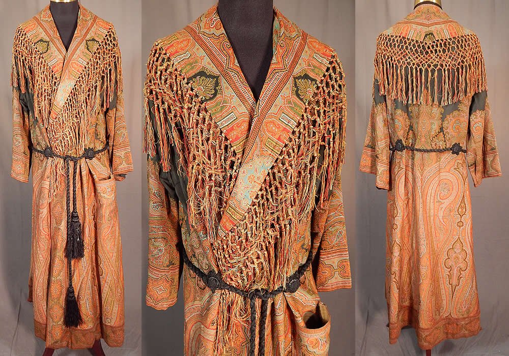 Victorian Antique Wool Paisley Shawl Collar Belted Robe Morning Dressing Gown