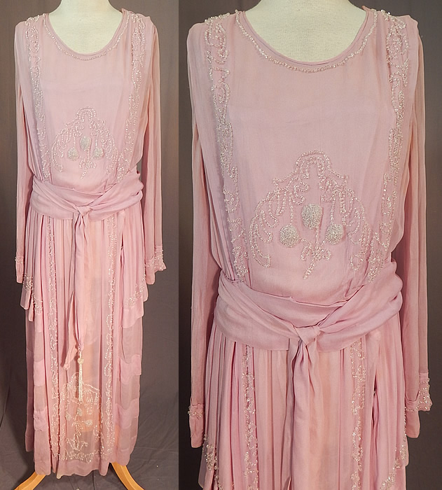 Edwardian Lilac Silk Chiffon Crystal Beaded Belted Evening Gown Dress